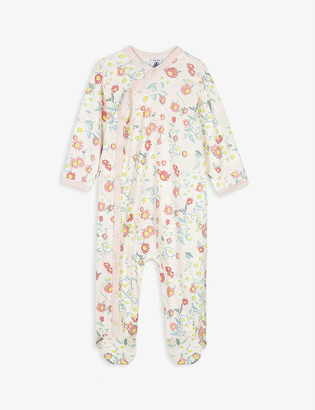 Petit Bateau Floral and striped cotton all-in-one 3-24 months
