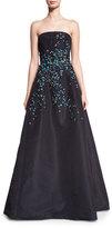 Oscar de la Renta Strapless Faille Gown w/3D Floral Appliques, Navy/Blue