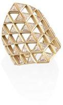 Melissa Kaye Chloe Diamond & 18K Yellow Gold Shield Ring