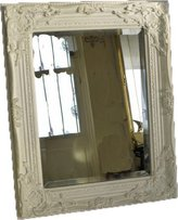 Best Selling WHITE Shabby Chic Antique Style MIRROR with Bevelled Mirror Glass - Overall Mirror Size: 21 inches x 17 inches (43cm x 53cm) by DOWNTON INTERIORS