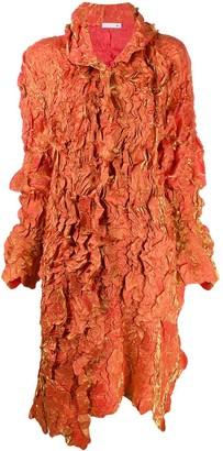 Issey Miyake Pre Owned Ruffled Metallic Midi Coat