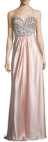 Mignon Sleeveless Embellished-Bodice Gown, Blush