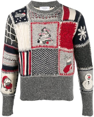 Thom Browne Holiday patchwork mohair pullover