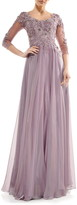 Marsoni Embroidered Sheer Sleeve Chiffon Gown