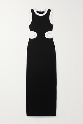 STAUD Dolce Cutout Two-tone Stretch-jersey Maxi Dress - Black