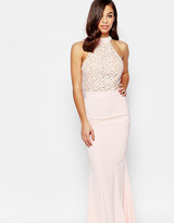 Jarlo Petite Caden Lace Detail Halter Neck Maxi Dress
