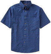 Roundtree & Yorke Short-Sleeve Cotton Tattersall Plaid Button-Down Collar Sportshirt