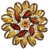 PYNK JEWELLERY Large Topaz Gold Swarovski Crystal Spiral Sunflower Brooch