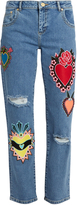 House of Holland Heart-appliqué distressed boyfriend jeans