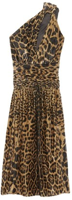 Saint Laurent Leopard Print One-Shoulder Midi Dress