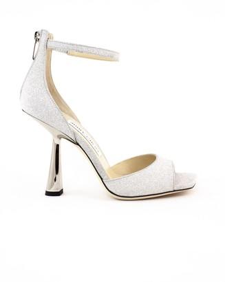 Jimmy Choo Silver Glitter Fabric Reon Sandals