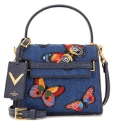 Valentino Rockstud Denim Shoulder Bag With Appliqué