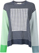 Ports 1961 check and stripe detail sweater