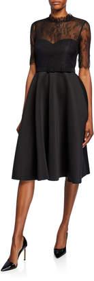 Badgley Mischka Mock-Neck Lace Illusion Elbow-Sleeve Fit-&-Flare Scuba Dress
