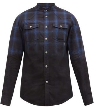 Balmain Faded Checked Cotton Shirt - Black Blue