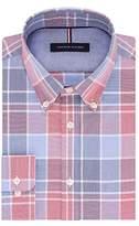 Tommy Hilfiger Men's Non Iron Slim Fit Plaid Buttondown Collar Dress Shirt