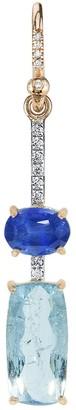Irene Neuwirth One-Of-A-Kind Aquamarine Rectangle and Sapphire Rose Gold Single Earring