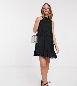 ASOS DESIGN Petite sleeveless lace insert mini dress with pephem in black