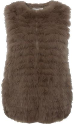 Gerard Darel Sleeveless Fox Fur Aimy Jacket