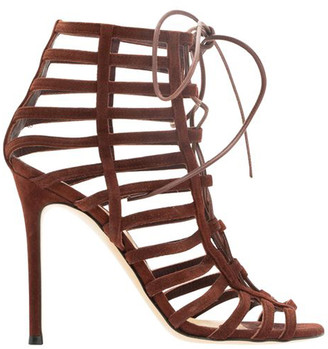 Gianvito Rossi Burgundy Suede Lace Up Caged Gladiator Sandals Size 36
