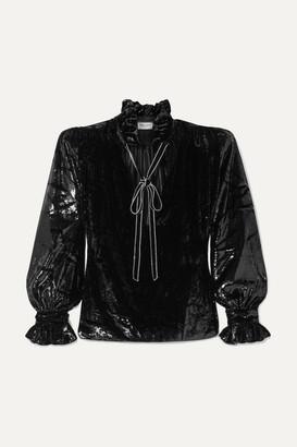 Saint Laurent Pussy-bow Crystal-embellished Metallic Velvet Blouse - Black