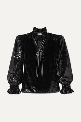 Saint Laurent Pussy-bow Crystal-embellished Metallic Velvet Blouse - Black