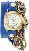La Mer Women's 'Nautical Charms' Quartz Gold-Tone and Leather Watch, Color:Blue (Model: LMCW2016362)