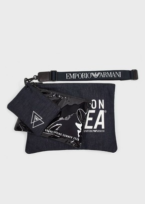 Emporio Armani Logo Pouch Set In Denim And Pvc