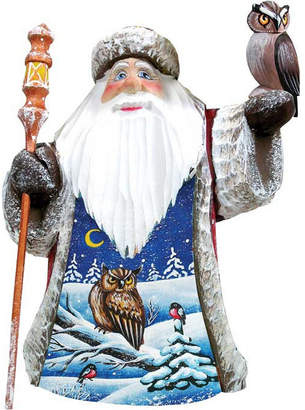 G.DeBrekht Woodcarved and Hand Painted Santa Watchful Owls Figurine