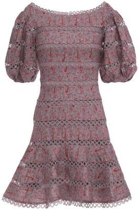 Zimmermann Juniper Crochet-trimmed Printed Linen Mini Dress