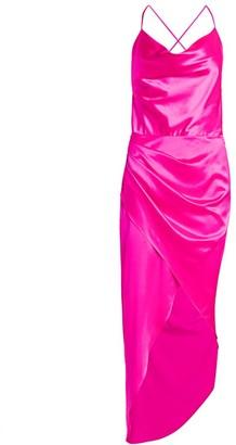 HANEY Holy Silk Draped High-Low Midi Dress