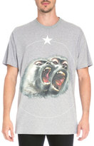 Givenchy Columbian Monkey-Print Jersey T-Shirt, Gray
