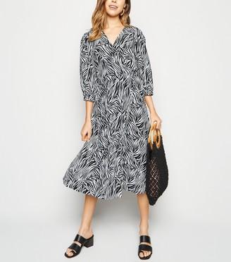 New Look Zebra Print Puff Sleeve Midi Wrap Dress