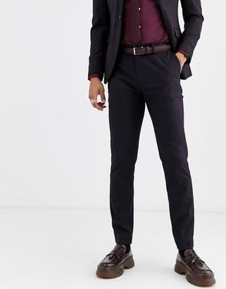 Topman slim suit trousers in burgundy check