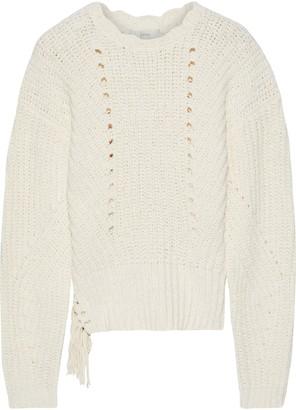 Joie Taelar Fringe-trimmed Ribbed Cotton-blend Sweater