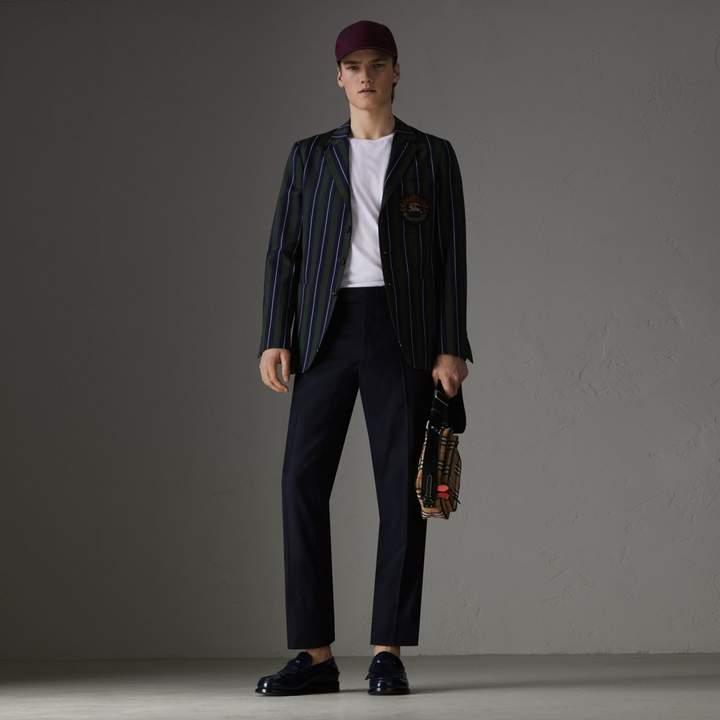 Burberry Slim Fit Striped Wool Cotton Club Blazer