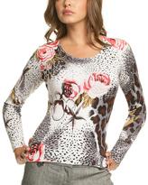 Le Mieux White & Gray Leopard Rose Scoop Neck Top