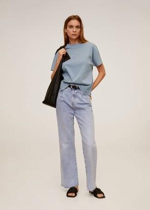 MANGO High collar T-shirt ice grey - S - Women