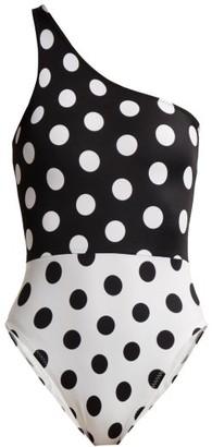 Norma Kamali Mio One-shoulder Swimsuit - Womens - Black White