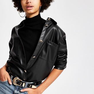 River Island Womens Black faux leather jacket