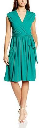 N. Hot Squash Women's Capped Sleeve Fit Flare Wrap Plain Sleeveless Dress