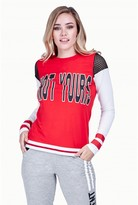 Select Fashion Fashion Womens Red Not Yours Collegiate Long Sleeve Top - size 8