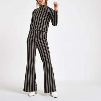 River Island Womens Petite Black stripe wide leg trousers
