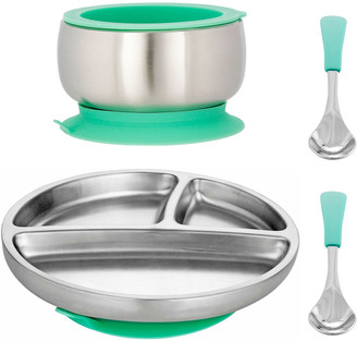 Avanchy Toddler's Stainless Steel Plate, Bowl & Spoon Set