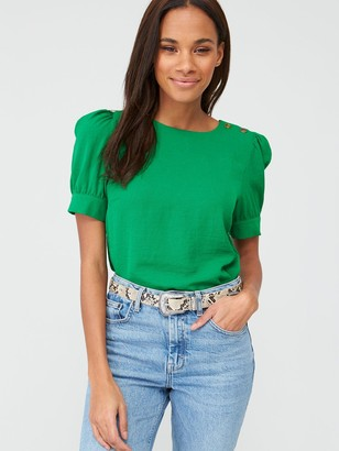 Very Button Ruched Short Sleeve Shell Top - Green