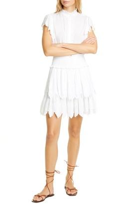 Rebecca Taylor Smocked Cotton Eyelet Dress