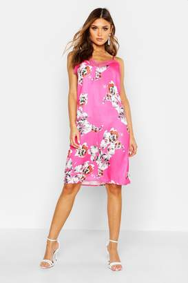 boohoo Floral Print Lace Trim Slip Dress
