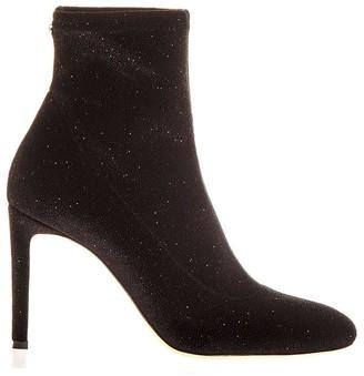 Giuseppe Zanotti Black Stretch Glittered Boots In Velvet