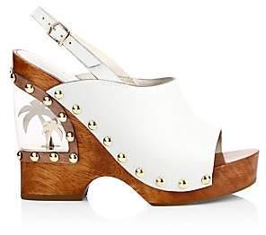 Sophia Webster Women's Studded Leather Clog Wedge Sandals