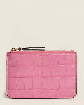 Mulberry Raspberry Pink Croc-Embossed Zip Coin Pouch